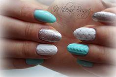 Sweterki i pikowanie :) #nails #paznokcie #hybrydy #semilac #sweterek #pikowanie #mint #white #silver #brokat