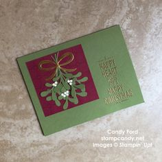 "Click through to stampcandy.net for details! Stampin' Up, Pretty Pines Thinlits Dies, Christmas Pines Bundle, Suite Seasons Stamp Set, Wild Wasabi, Cherry Cobbler, Very Vanilla, Gold Foil Sheets, 1/8"" Circle Punch, Versamark Pad, Gold Stampin' Emboss Powder, Heat Tool"