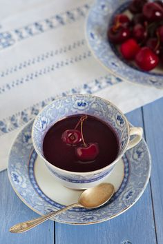 Cherries and Lambrusco Wine Cold Soup