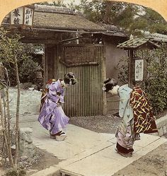 (animated stereo) Maiko meeting in Meiji-era japan by Thiophene_Guy, via Flickr