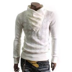 Mens Shirring Neck Pullover Knit Sweaters (KS01): Amazon.co.uk: Clothing