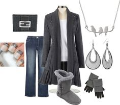 """""""Gray Sweater and Jeans - Plus Size"""" by intcon on Polyvore"""