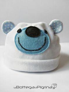 berretto per neonato - orso berretto ciniglia,maglina di cotone,pannolenci cucito