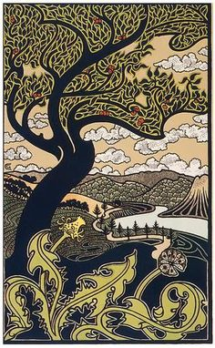 Art Nouveau • Combaz - Tree & Valley - Circa 1898