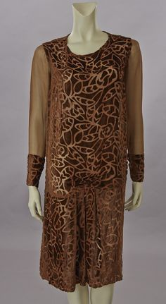 Cinnamon Silk Velvet Burnout Dress, 1920's