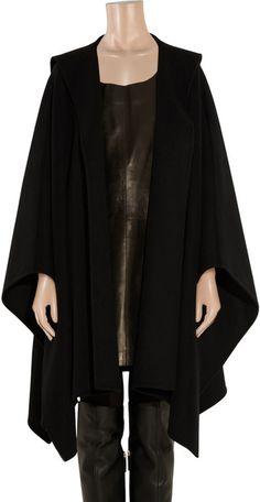 Grim Robe | Michael Kors Hooded Wool Poncho in Black - Lyst
