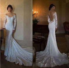 Long Sleeve white lace Mermaid Berta Bridal 2016 Lace Boho Wedding Dresses Sexy Backless Off The Shoulder Bridal Gown
