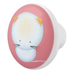 Cute White Kitten Nursery Art Ceramic Knob