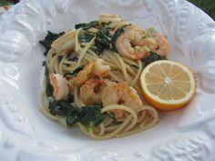Lighten Up Shrimp Scampi Pasta with Spinach