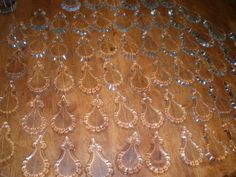 Country French Pendalogue pendants glass for chandelier parts lot of 62 pieces