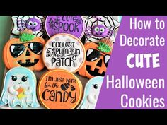 Cute Halloween Cookie Tutorial - SIX designs! Cute Halloween Cookie Tutorial - SIX designs! Fall Cookies, Candy Cookies, Cute Cookies, Thanksgiving Cookies, Sugar Cookies, Decorating Tools, Cookie Decorating, Cookie Gifts, Cookie Box
