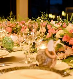 Long table with beautiful pink and white flowers
