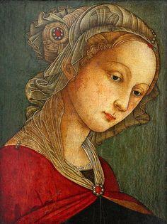 """""""sainte catherine"""", filippo lippi - Fray Filippo di Tommaso Lippi, también conocido como Lippo Lippi, fue un pintor cuatrocentista italiano. Sobresalió por la originalidad del paisaje y la elegancia nerviosa en el dibujo, que influyó decisivamente en Botticelli"""