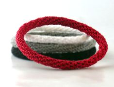 Crochet Bracelet Fiber Bracelet  Bangle Fine Thread Icord Red