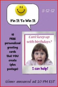 Wish you had more time to get out those  heartfelt greetings?  Let me help you get started.  Leave a comment below, repin and you will be in the drawing to send out 10 of those cards (with your personalized pics).. Let your creativity bring sunshine into someone's day!  Postage included.  Winner announced 10 PM EST tonight...
