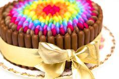 Really Easy Chocolate Rainbow Smarties Cake