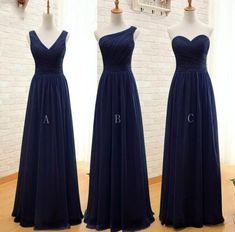 Navy Blue Mismatch Chiffon Bridesmaid Dresses, Simple Navy Blue Bridesmaid Dress, Wedding Party Dresses