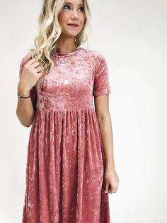 Pink Rose Velvet Dress | ROOLEE