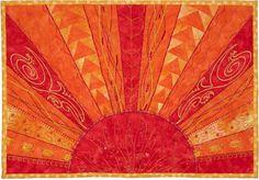 "= free pattern = Aurora Sunshine mini quilt, 10 x 14"",  free pattern by Marlis Bennett for Bernina.  Featured at Quilt Inspiration."