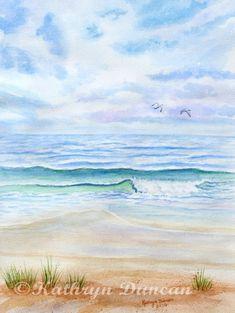 Ocean Beach Painting Original Watercolor by KathrynMDuncan on Etsy, $175.00