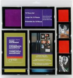 Snap 10-Piece magnetic frame set. Perfect way to display your photos or art projects on your fridge.