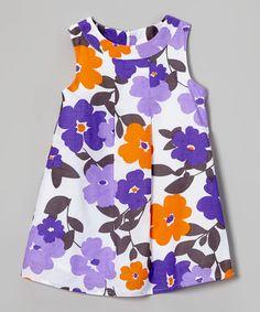Look at this #zulilyfind! Rim Zim Kids Purple & Orange Floral A-Line Dress - Infant, Toddler & Girls by Rim Zim Kids #zulilyfinds