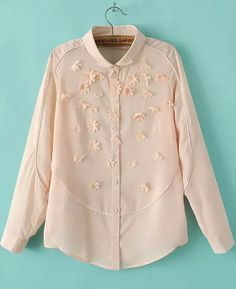 Pink Long Sleeve Applique Loose Blouse 21.83