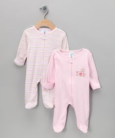 Take+a+look+at+the+SpaSilk+Pink+Stripe+Footie+Set+on+#zulily+today!