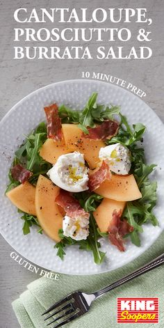 Gluten free and still full of goodies. This summer salad will satisfy everyone's taste buds with sweet cantaloupe, salty prosciutto and creamy burrata. It's all served on peppery arugula, the ultimate hearty green base for a backyard BBQ side. Burrata Salad, Burrata Cheese, Burrata Recipe, Prosciutto Recipes, Cooking Recipes, Healthy Recipes, Summer Salads, Soup And Salad, Tasty Dishes