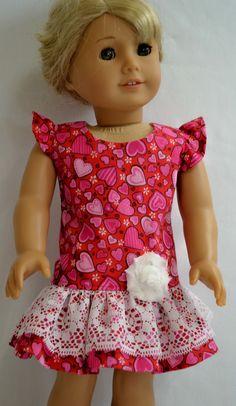 American Girl Doll Clothes Hearts & Flower by ThreadsAndSplinters, $20.00