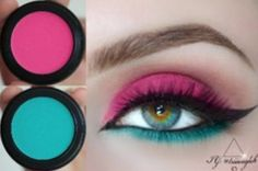 pink and blue eye makeups