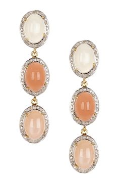 White Diamond Halo Triple Drop Moonstone Earrings on @HauteLook