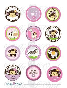 Items similar to CoCaLo Jacana Jungle Girl Baby Shower Printable Cupcake Toppers, Favor Tags with monkey, zebra, giraffe and hippo - you print on Etsy Baby Shower Cupcake Toppers, Baby Shower Favors Girl, Baby Shower Brunch, Baby Shower Cards, Baby Shower Themes, Baby Boy Shower, Baby Shower Invitations, Baby Shower Gifts, Shower Ideas