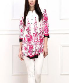 Love this Pink Fleur-de-Lis Notch Neck Tunic by Reborn Collection on #zulily! #zulilyfinds