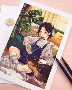 Anime Drawings Sketches, Anime Sketch, Cute Drawings, Cute Art Styles, Cartoon Art Styles, Art And Illustration, Anime Art Girl, Manga Art, Arte Copic