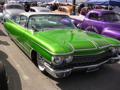 Classic Car   awesome shade of lime green   sleek