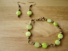 Lime green mother of pearl and antique brass by johnnynjenny, $12.00