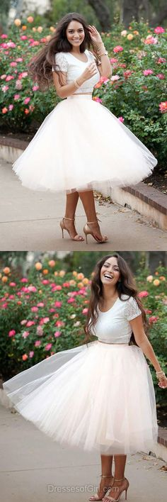 Ball Gown Prom Dress, White Prom Dresses, Tulle Homecoming Dress, Lace Homecoming Dresses, Short Sleeve Cocktail Dresses