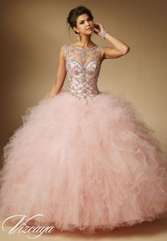 Oh wow - love this beaded neckline! Quinceanera Dress 89041 Jeweled Beading on Ruffled Tulle