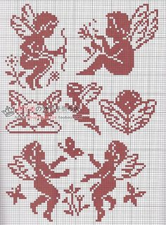 Angels 1 (no color chart available, just use photo/pattern chart as your stitch/color guide... or choose your own colors)