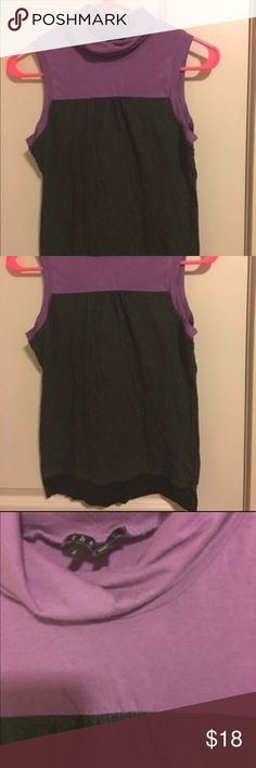💕Theory top Theory top size small made in Peru. Material is cotton & spandex. This is a high quality designer top. It has color block style  with purple, gray, and black. This is turtle neck style and sleeveless. It is semi longer in length making it great with leggings also works nice under a sweater. This is in excellent preowned shape Final sale no returns 💕trades yes Theory Tops