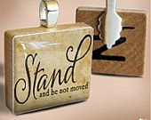 STAND : a pendant charm made on a Scrabble Game Tile wood piece by HomeStudio