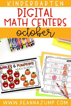 Looking for some fun October center activities for kindergarten? These digital kindergarten math centers all address important early math skills, and include fall themes like apples, pumpkins, scarecrows and more!