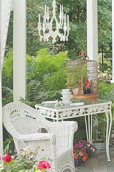 Front porch wicker and garden tea