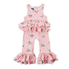 Ruffled Rose Romper<br>Newborn to 18 Months<BR>Now in Stock