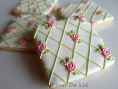 Lovely Floral Pattern Cookies, by Flour De Lis