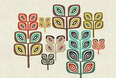 The Woodland: graphic pattern art print 60's style art