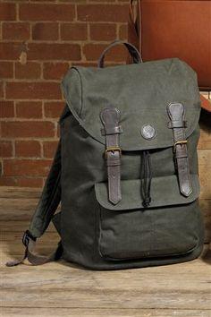 Khaki Wax Canvas Backpack