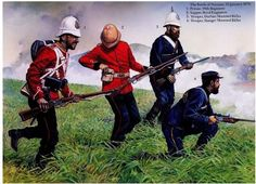 British; The Battle of Nyezane, 22nd January 1879. L to R;- 99th Regiment of Foot, Private. Royal Engineers, Sapper. Durban Mounted Rifles, Trooper & Stanger Mounted Rifles, Trooper.