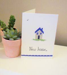 New house card, new home card, moving house card, house warming card New Home Cards, House Of Cards, New Home Gifts, New Homeowner, Moving House, Colored Paper, Handmade Items, Handmade Cards, House Warming
